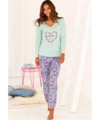 Pyjama mit Paisleymuster & passendem Frontprint Buffalo grün 32/34,36/38,40/42,44/46