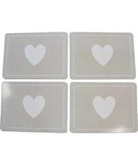 KERSTEN - Set prostírání srdce, papír/korek, šedé, 29x1,5x21,5cm, bal/4ks (LEV-4265)