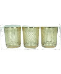 KERSTEN - Set 3ks svícen 18x6x7cm, sklo, zlaté, bal/3ks (LEV-8140)