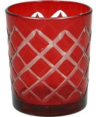 KERSTEN - Svícen 8,5x8,5x9,5cm, sklo, červený (LEV-8844)