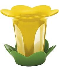 ZAK! designs - Flower sítko na čaj s odkapávačem, žlutá/zelená, 10 x 9 cm (1530-020)