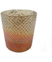 KERSTEN - Svícen skleněný, antik, rezavý 12x12x14cm (LEV-3688)