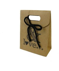 KERSTEN - Dárková taška & LOVE papír, hnědá, 12,3x5,8x16,5cm (LEV-4792)