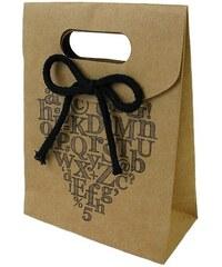 KERSTEN - Dárková taška ALPHABET papír, hnědá 12,3x5,8x16,5cm (LEV-4793)