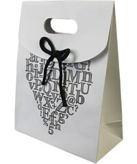 KERSTEN - Dárková taška ALPHABET papír, bílá, 19x9x24,5cm (LEV-4799)