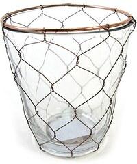KERSTEN - Svícen sklo/drát 7,5x7,5x9cm (LEV-6433)