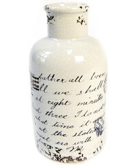 KERSTEN - Váza keramická s písmem 10,2x10,2x20,3cm (LEV-7195)
