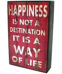 KERSTEN - Cedule HAPPINESS MDF/papír, červená 25x5x16cm (LEV-4930)