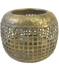 KERSTEN - Svícen kovový, zlatý efekt, 9,5x9,5x7,5cm (LEV-7578)