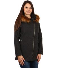 TopMode Krásný kabátek s asymetrickým zipem černá