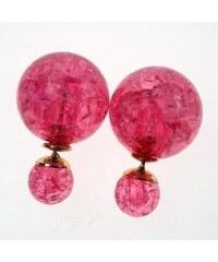 Oboustranné náušnice Lolipop, tmavě růžové