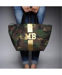 Mia Bag Army taška - shopper - zlatý pás, Barva zlatá