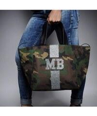 Mia Bag Army taška - shopper - stříbrný pás, Barva stříbrná