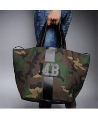 Mia Bag Army taška - shopper - černý pás, Barva černá