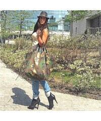 Mia Bag Army taška XL - shopper - zlatý pás