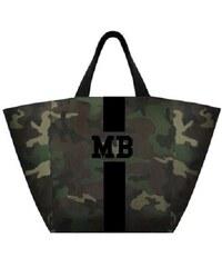 Mia Bag Army taška XL - shopper - černý pás, Barva černá