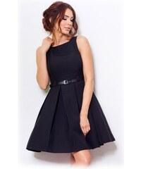 e8ebb85c9c8 numoco Dámské společenské šaty FOLD se sklady a páskem středně dlouhé černé