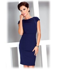 numoco Dámské společenské a casual šaty s krátkým rukávem modré d6e5286689