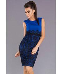 Dámské společenské šaty EMAMODA s krajkou modré