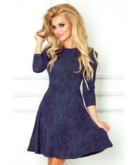 numoco Dámské společenské šaty s rozšířenou sukní a 3 4 rukávem džínově  modré 9b73e1a011