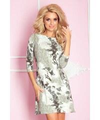 S-a-F Dámské šaty se zipy s módními ornamenty khaki
