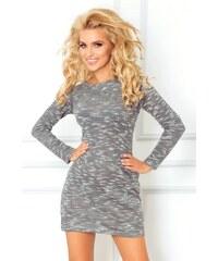 S-a-F Dámské šaty / dlouhý svetr s dlouhým rukávem z pleteniny šedé