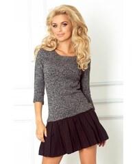 S-a-F Dámské šaty z pleteniny se skládanou sukní s 3/4 rukávem černé