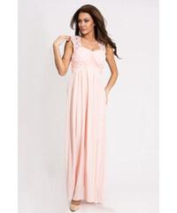 Dámské společenské a plesové šaty EVA LOLA dlouhé světle růžové