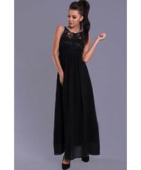 Dámské společenské šaty EVA LOLA s plastickým živůtkem dlouhé černé