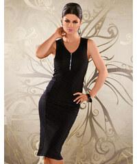 OEM Dámské společenské a párty šaty BF8701 bez rukávu s jemným proužkem černé