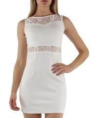 JOVILIA Dámské společenské šaty s krajkovým živůtkem bílé