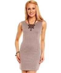 OEM FINY Dámské šaty krátké s kosočtvercovým vzorem šedé