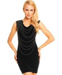 Kimi&Co KIMI Luxusní dámské společenské šaty zdobené řetízky černé