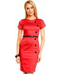 Společenské a casual šaty MAYAADI zdobené knoflíky a páskem červené