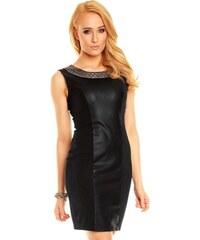 Best Emilie Fashion Společenské šaty EMILIE bohatě zdobené okolo výstřihu černé