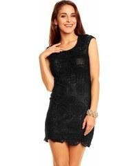 Wind Fashion Společenské a párty šaty ANNE s plastickou krajkou krátké černé