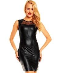 Společenské a párty šaty MAYAADI lesklé s šifonovým živůtkem černé