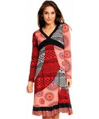 Best Emilie Fashion Dámské letní šaty DESIRE bavlněné barevné losos červená černá