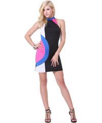 LOVER Párty a letní šaty CIRCLE zavazovací za krk kalhotky zdarma mini barevné