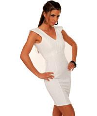OEM Dámské společenské a párty šaty BF11002 bez rukávu s plastickým proužkem bílé