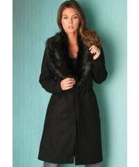 FROCK AND FRILL Černý wrap kabát s kožešinovým límcem