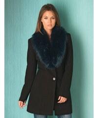 FROCK AND FRILL Černý kabát s modrým kožešinovým límcem