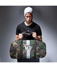 Mia Bag Army (unisex) taška - válec stříbrný pás, Barva stříbrná