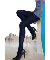 TopMode Dámské punčocháče s květinovým vzorem modrá