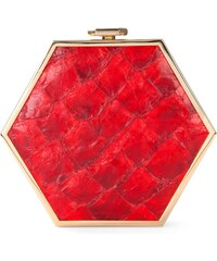 Gretchen Zeitgeist Gold Hexagon Clutch - Red Pirarucu Fish