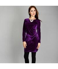 Lesara Crash-Samt-Kleid mit langen Ärmeln - S