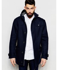 Farah - Mantel mit Kapuze aus verstärkter Wolle - Marineblau