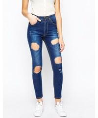 Good Vibes Bad Daze - Jean skinny déchiré taille haute - Bleu