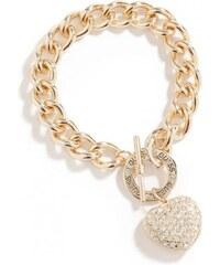 GUESS GUESS Gold-Tone Rhinestone Heart Bracelet - gold