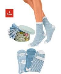 LAVANA Basic Blaue Kuschelsocken (3 Paar) in der Geschenkbox blau 35-38,39-42